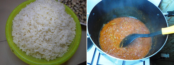 making Jollof rice