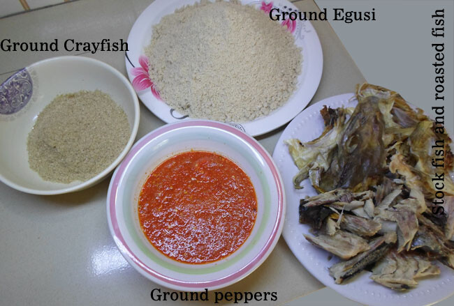 Ingredients efo elegusi