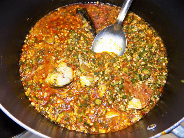 Pot of Okro soup